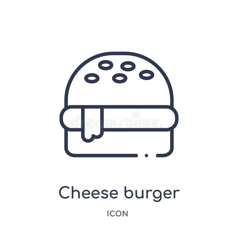 Icône linéaire d'hamburger de fromage de collection d'ensemble d'hôtel et de restaurant Ligne mince icône d'hamburger de fromage  illustration de vecteur