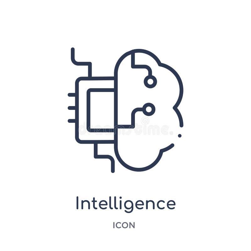 Icône linéaire d'intelligence de collection d'ensemble d'intelligence artificielle Ligne mince vecteur d'intelligence d'isolement illustration stock