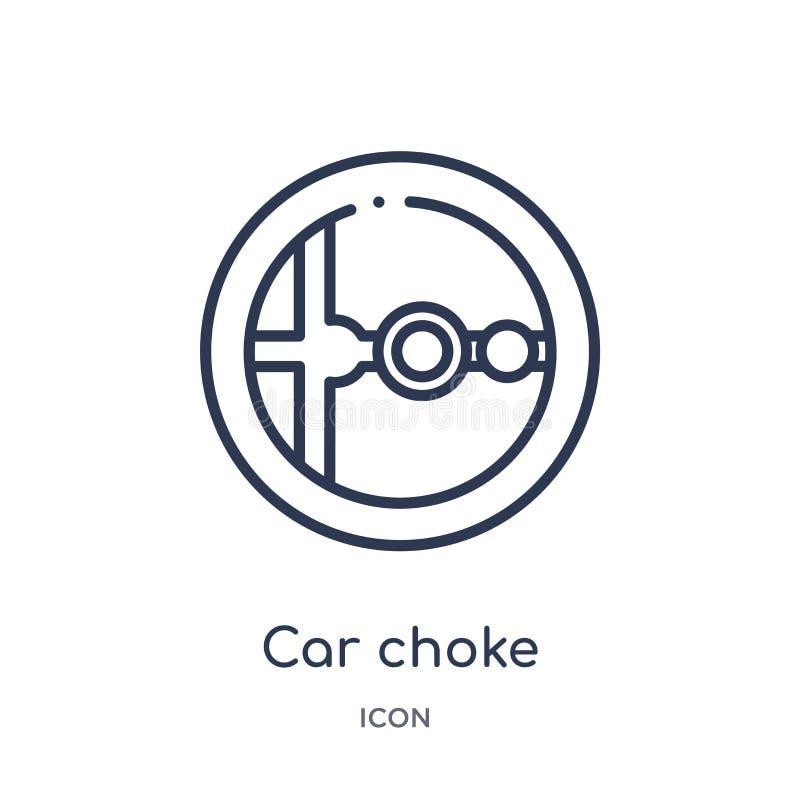 Icône linéaire d'obstruction de voiture de collection d'ensemble de pièces de voiture Ligne mince vecteur d'obstruction de voitur illustration libre de droits