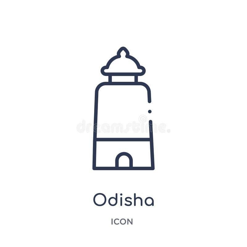 Icône linéaire d'odisha de collection d'ensemble de l'Inde Ligne mince icône d'odisha d'isolement sur le fond blanc illustration  illustration libre de droits