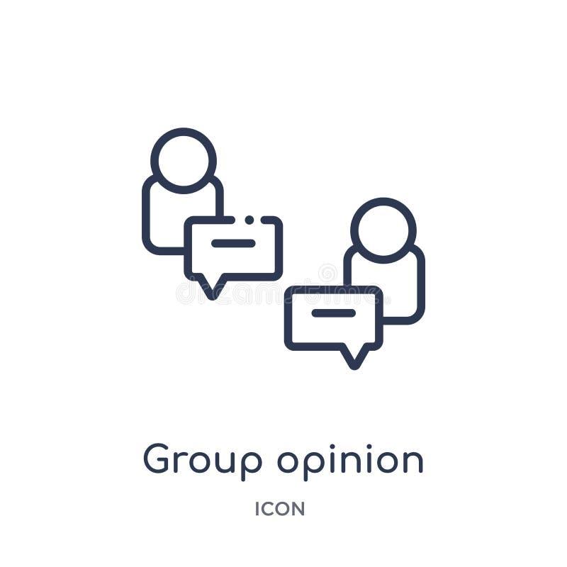 Icône linéaire d'opinion de groupe de collection d'ensemble général Ligne mince icône d'opinion de groupe d'isolement sur le fond illustration de vecteur