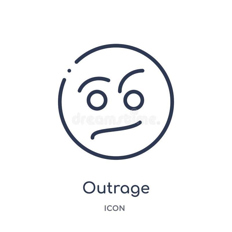 Icône linéaire d'outrage de collection d'ensemble de bâtiments Ligne mince icône d'outrage d'isolement sur le fond blanc outrage  illustration libre de droits