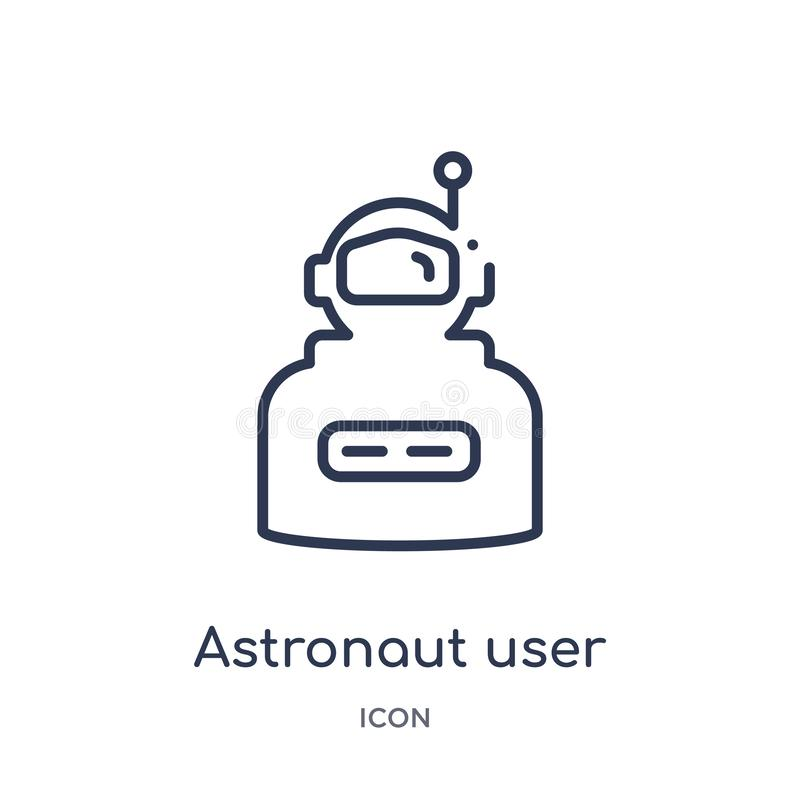 Icône linéaire d'utilisateur d'astronaute de collection d'ensemble d'astronomie Ligne mince vecteur d'utilisateur d'astronaute d' illustration libre de droits