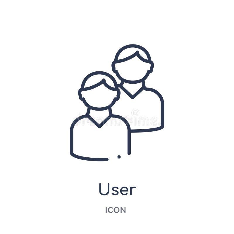Icône linéaire d'utilisateur de collection d'ensemble de service à la clientèle Ligne mince vecteur d'utilisateur d'isolement sur illustration stock