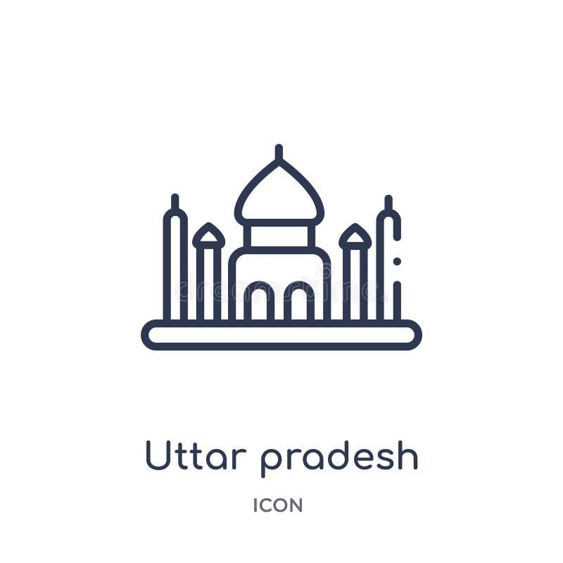 Icône linéaire d'uttar pradesh de collection d'ensemble de l'Inde Ligne mince icône d'uttar pradesh d'isolement sur le fond blanc illustration stock