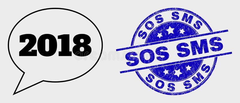 Icône 2018 linéaire de ballon de message de vecteur et joint grunge de timbre de SOS SMS illustration stock