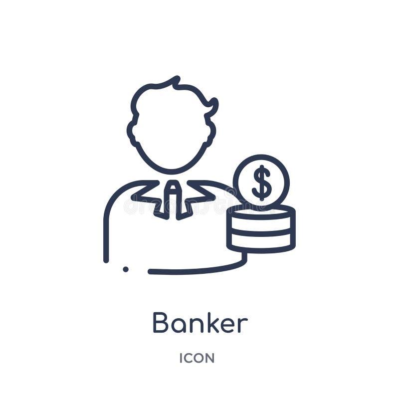 Icône linéaire de banquier de l'économie de Cryptocurrency et de la collection d'ensemble de finances Ligne mince vecteur de banq illustration stock
