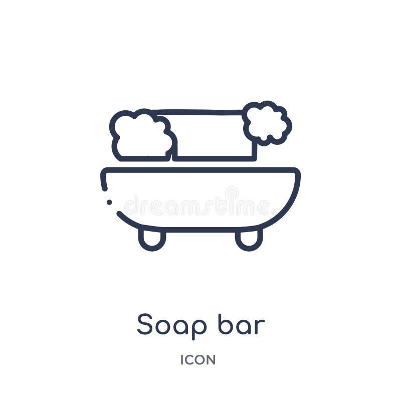 Icône linéaire de barre de savon de collection d'ensemble de beauté Ligne mince vecteur de barre de savon d'isolement sur le fond illustration stock