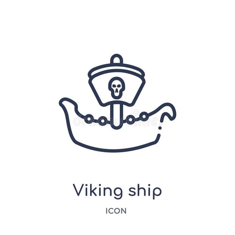 Icône linéaire de bateau de Viking de collection d'ensemble d'histoire Ligne mince icône de bateau de Viking d'isolement sur le f illustration stock