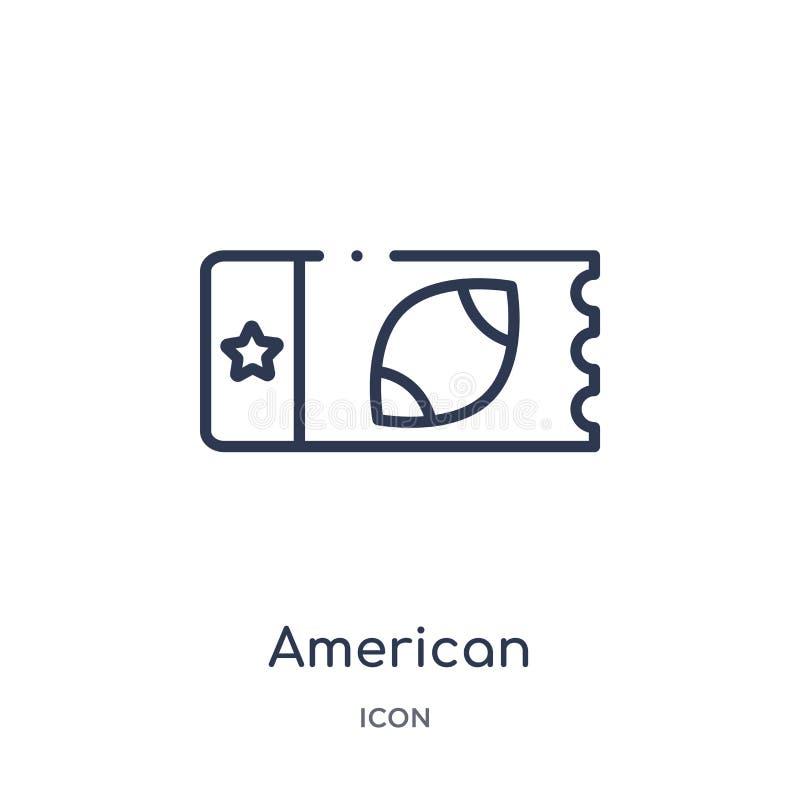 Icône linéaire de billet de football américain de collection d'ensemble de football américain La ligne mince vecteur de billet de illustration stock