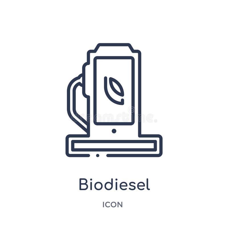 Icône linéaire de biodiesel de collection d'ensemble d'écologie Ligne mince vecteur de biodiesel d'isolement sur le fond blanc bi illustration stock