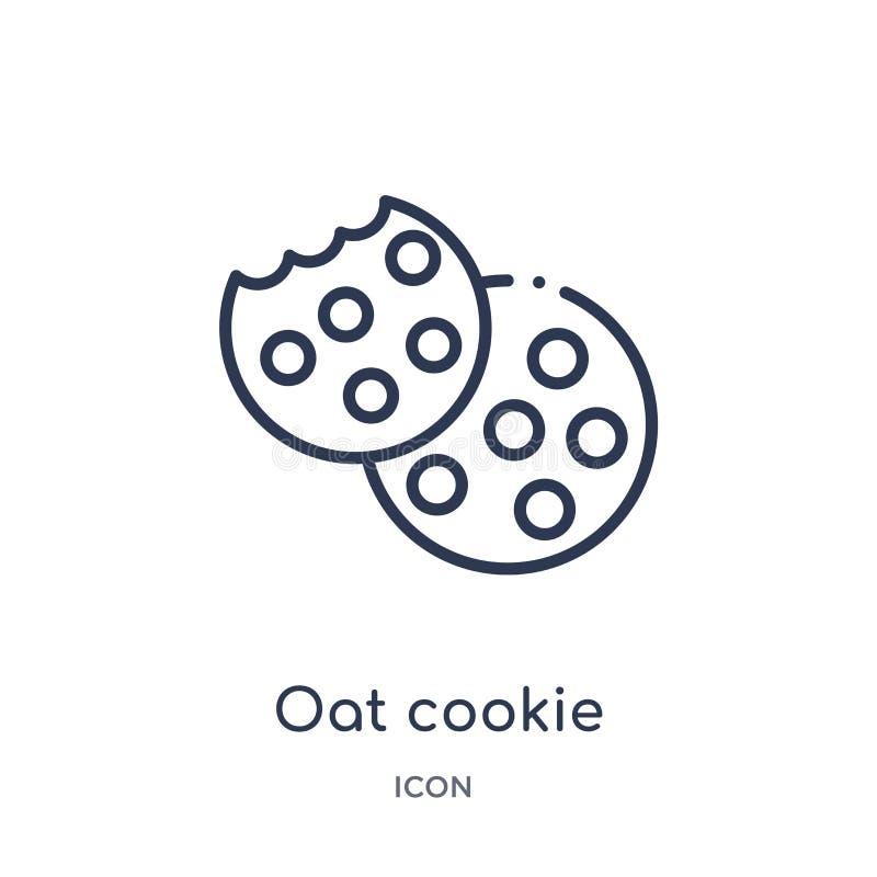Icône linéaire de biscuit d'avoine de collection d'ensemble de Noël Ligne mince vecteur de biscuit d'avoine d'isolement sur le fo illustration libre de droits