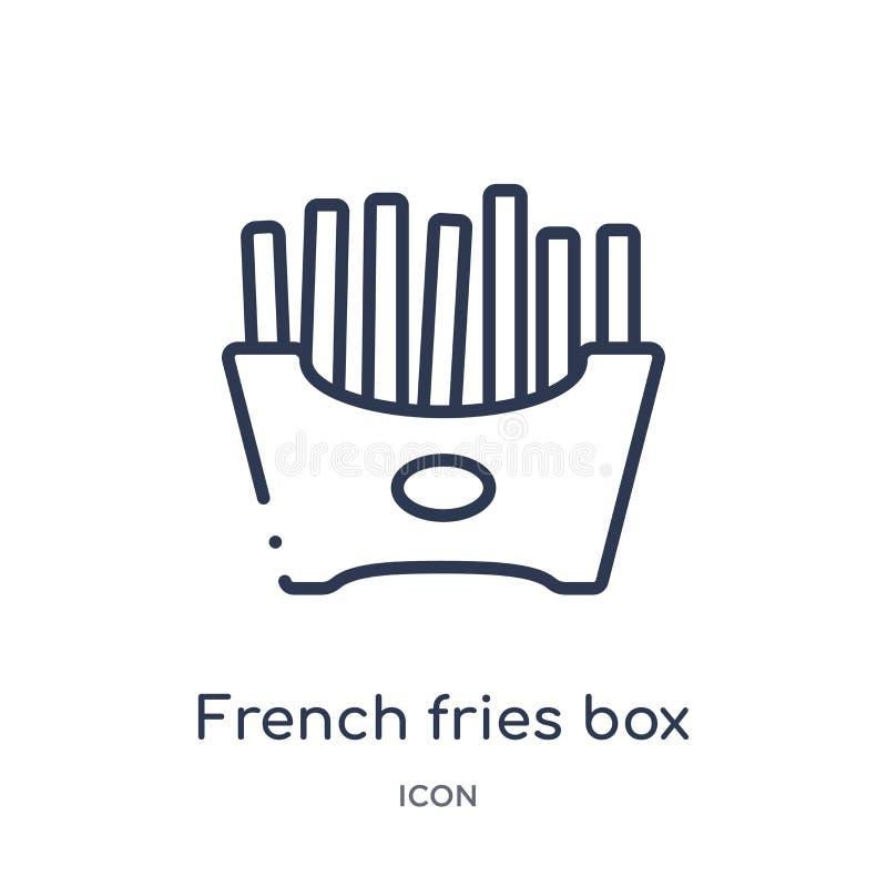 Icône linéaire de boîte à pommes frites de collection d'ensemble de Bistros et de restaurant Ligne mince vecteur de boîte à pomme illustration libre de droits