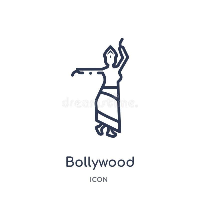 Icône linéaire de bollywood de collection d'ensemble de l'Inde Ligne mince icône de bollywood d'isolement sur le fond blanc bolly illustration stock