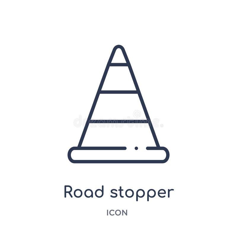 Icône linéaire de bouchon de route de collection d'ensemble de construction Ligne mince vecteur de bouchon de route d'isolement s illustration stock