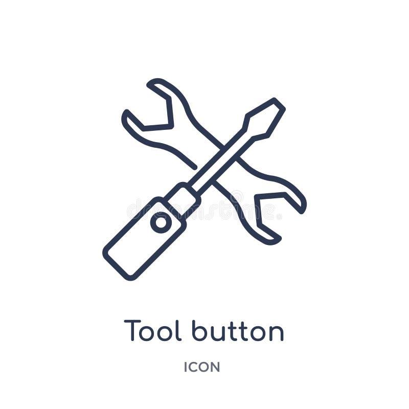 Icône linéaire de bouton d'outil de collection d'ensemble d'affaires Ligne mince icône de bouton d'outil d'isolement sur le fond  illustration de vecteur
