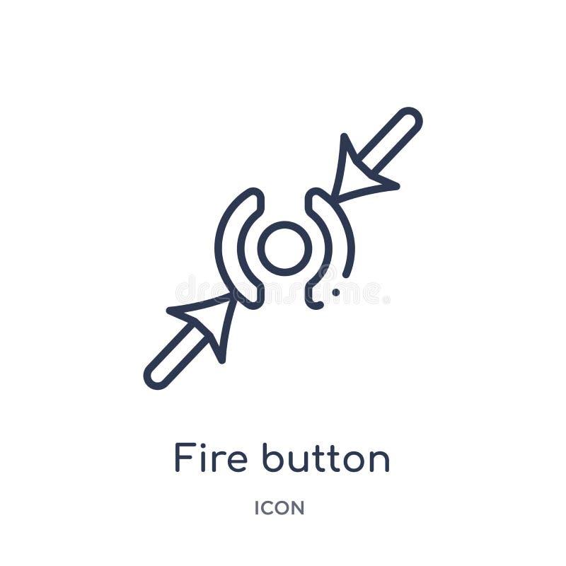 Icône linéaire de bouton du feu de la collection vigilante d'ensemble Ligne mince vecteur de bouton du feu d'isolement sur le fon illustration de vecteur