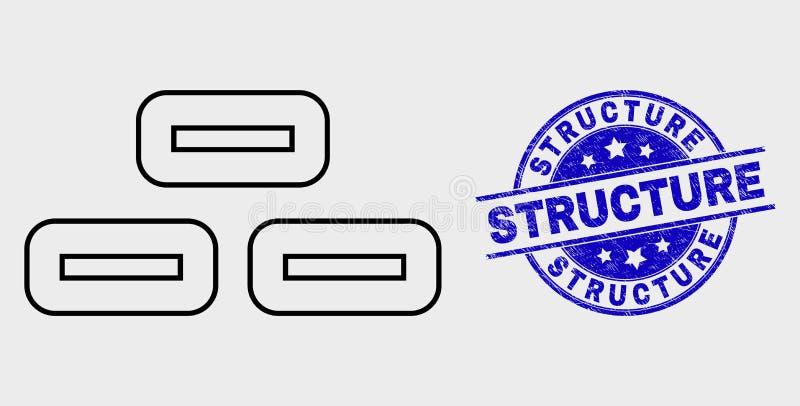 Icône linéaire de briques de vecteur et timbre rayé de structure illustration de vecteur