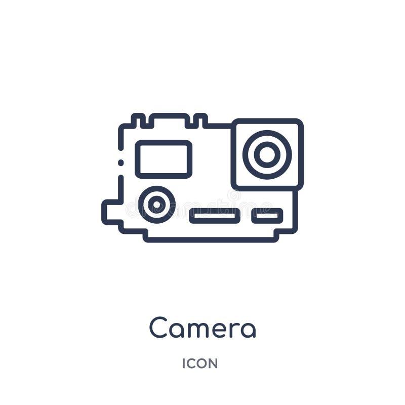 Icône linéaire de caméra de collection d'ensemble de Blogger et d'influencer Ligne mince vecteur de caméra d'isolement sur le fon illustration libre de droits