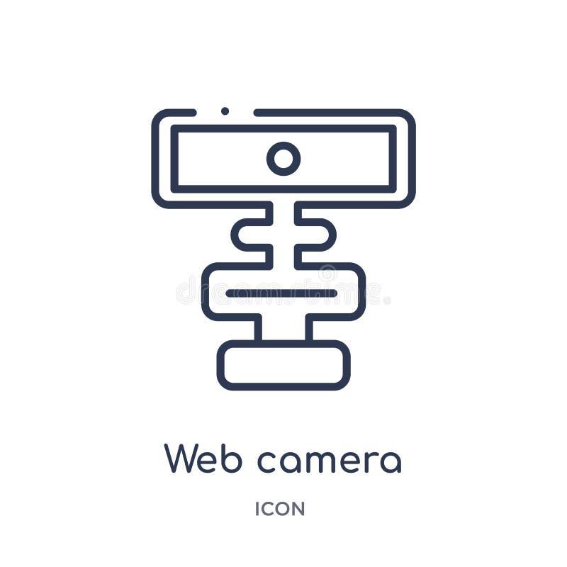 Icône linéaire de caméra web de collection d'ensemble de connexions d'Electrian Ligne mince vecteur de caméra web d'isolement sur illustration de vecteur