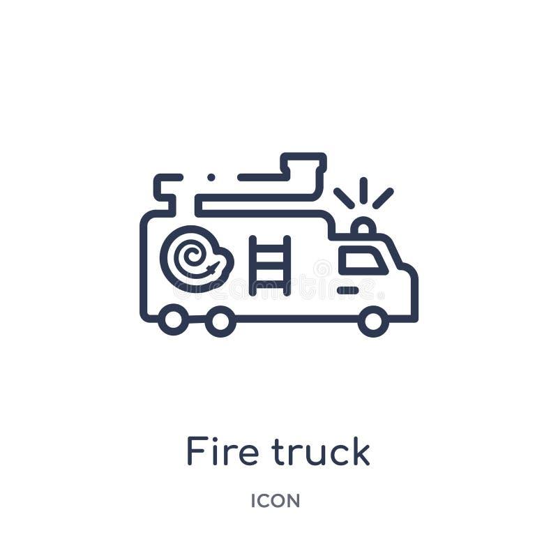Icône linéaire de camion de pompiers de collection d'ensemble d'éléments de ville Ligne mince vecteur de camion de pompiers d'iso illustration libre de droits
