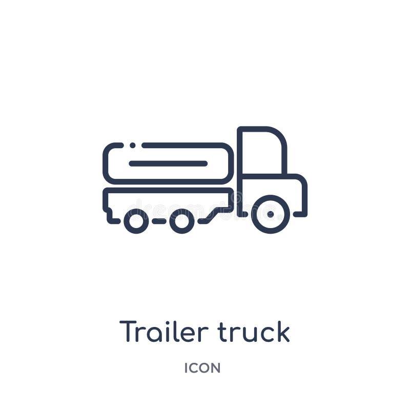 Icône linéaire de camion de remorque de collection d'ensemble de terminal d'aéroport Ligne mince vecteur de camion de remorque d' illustration de vecteur