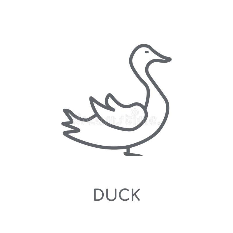 Icône linéaire de canard Concept moderne de logo de canard d'ensemble sur le dos blanc illustration libre de droits