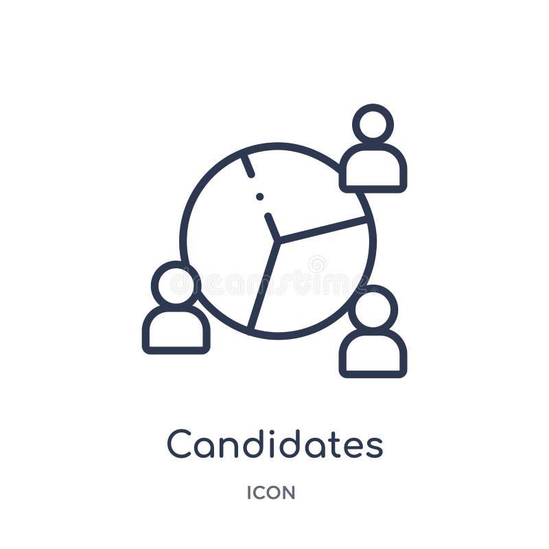 Icône linéaire de candidats de collection d'ensemble de ressources humaines Ligne mince icône de candidats d'isolement sur le fon illustration de vecteur