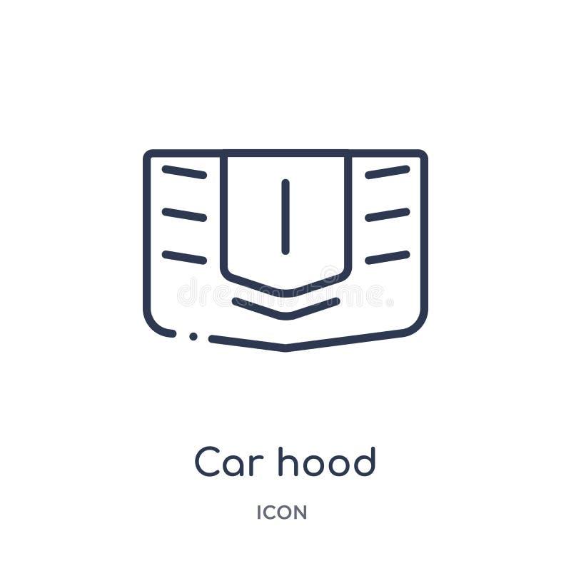 Icône linéaire de capot de voiture de collection d'ensemble de pièces de voiture Ligne mince vecteur de capot de voiture d'isolem illustration libre de droits