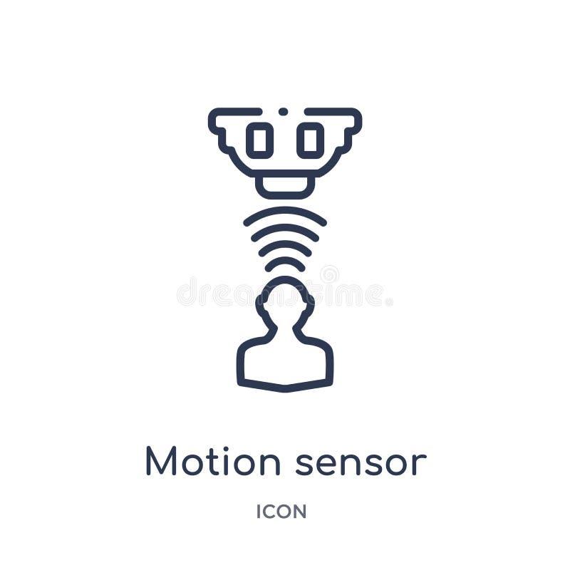 Icône linéaire de capteur de mouvement d'intellegence artificiel et de future collection d'ensemble de technologie Ligne mince ve illustration libre de droits