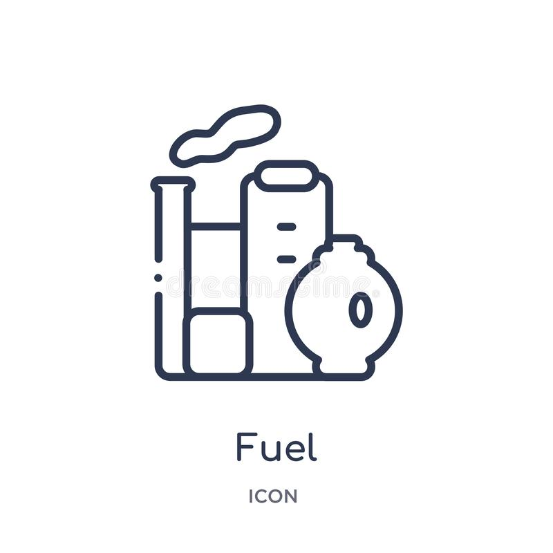 Icône linéaire de carburant de collection d'ensemble d'industrie Ligne mince icône de carburant d'isolement sur le fond blanc ill illustration stock