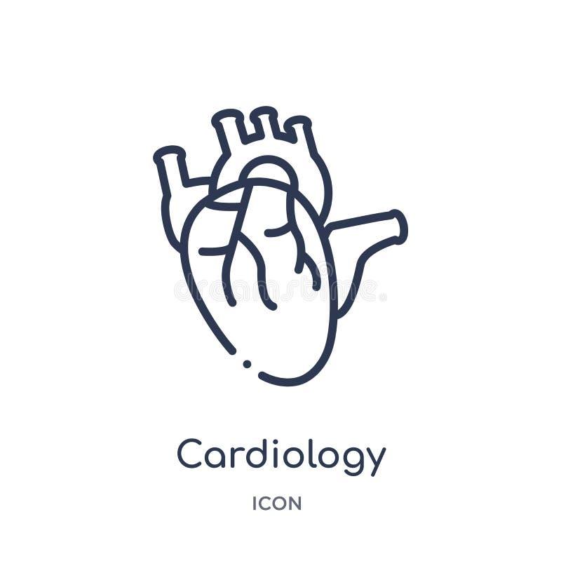 Icône linéaire de cardiologie de santé et de collection médicale d'ensemble Ligne mince icône de cardiologie d'isolement sur le f illustration libre de droits