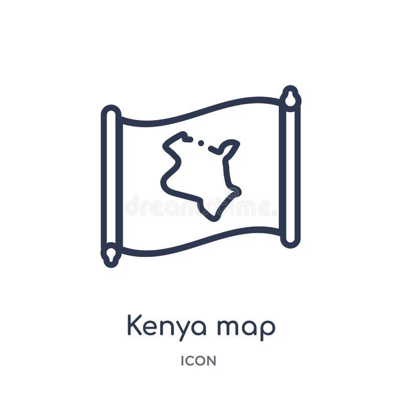 Icône linéaire de carte du Kenya de collection d'ensemble de Countrymaps Ligne mince vecteur de carte du Kenya d'isolement sur le illustration libre de droits