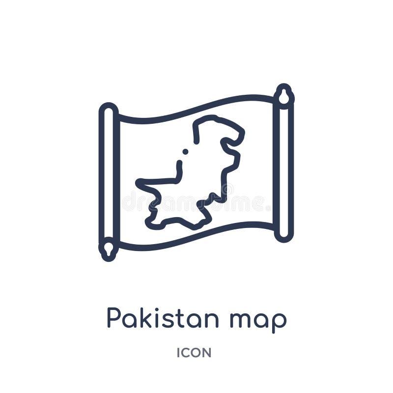 Icône linéaire de carte du Pakistan de collection d'ensemble de Countrymaps Ligne mince vecteur de carte du Pakistan d'isolement  illustration de vecteur