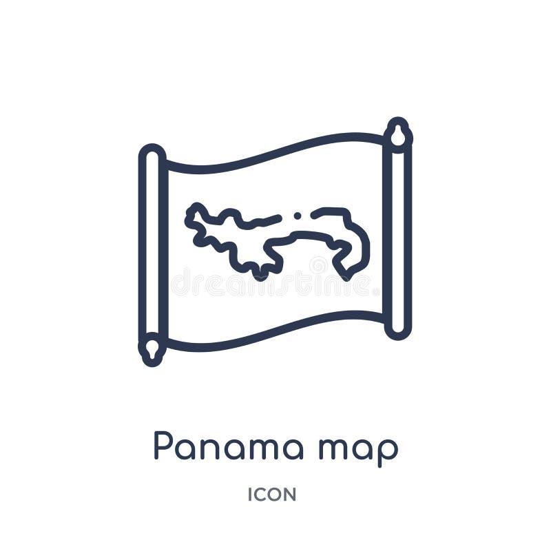 Icône linéaire de carte du Panama de collection d'ensemble de Countrymaps Ligne mince vecteur de carte du Panama d'isolement sur  illustration libre de droits