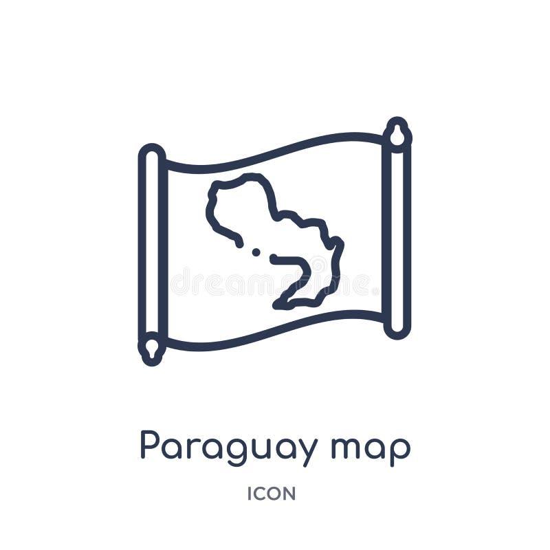 Icône linéaire de carte du Paraguay de collection d'ensemble de Countrymaps Ligne mince vecteur de carte du Paraguay d'isolement  illustration de vecteur