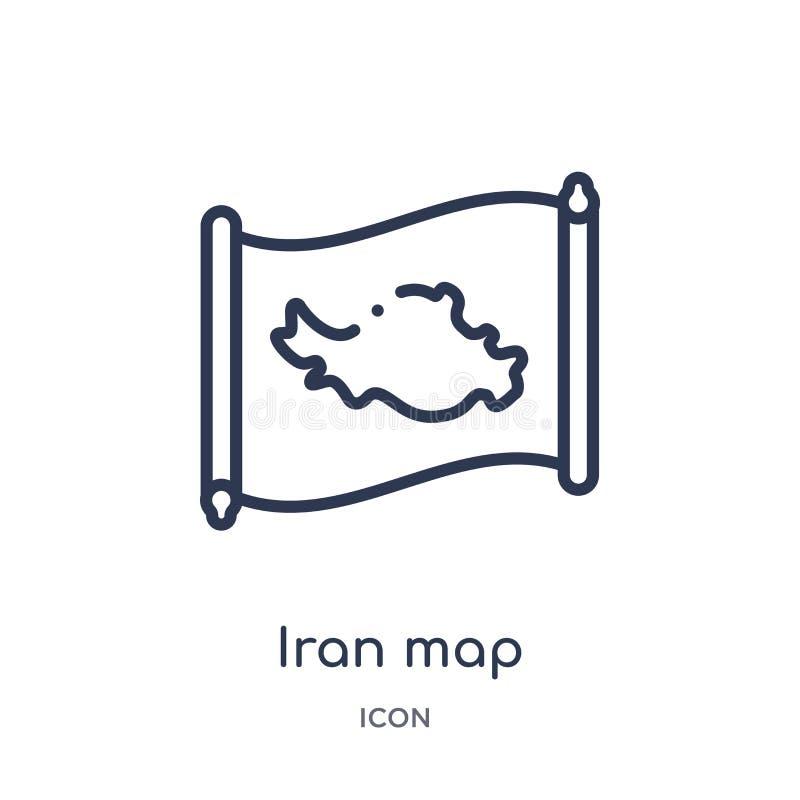 Icône linéaire de carte de l'Iran de collection d'ensemble de Countrymaps Ligne mince vecteur de carte de l'Iran d'isolement sur  illustration stock