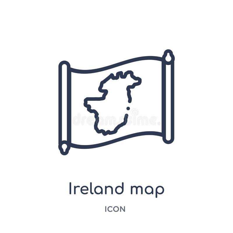 Icône linéaire de carte de l'Irlande de collection d'ensemble de Countrymaps Ligne mince vecteur de carte de l'Irlande d'isolemen illustration stock