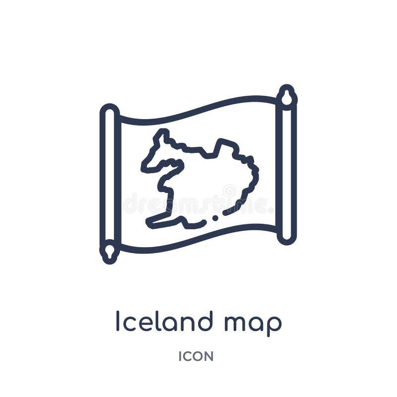Icône linéaire de carte de l'Islande de collection d'ensemble de Countrymaps Ligne mince vecteur de carte de l'Islande d'isolemen illustration stock