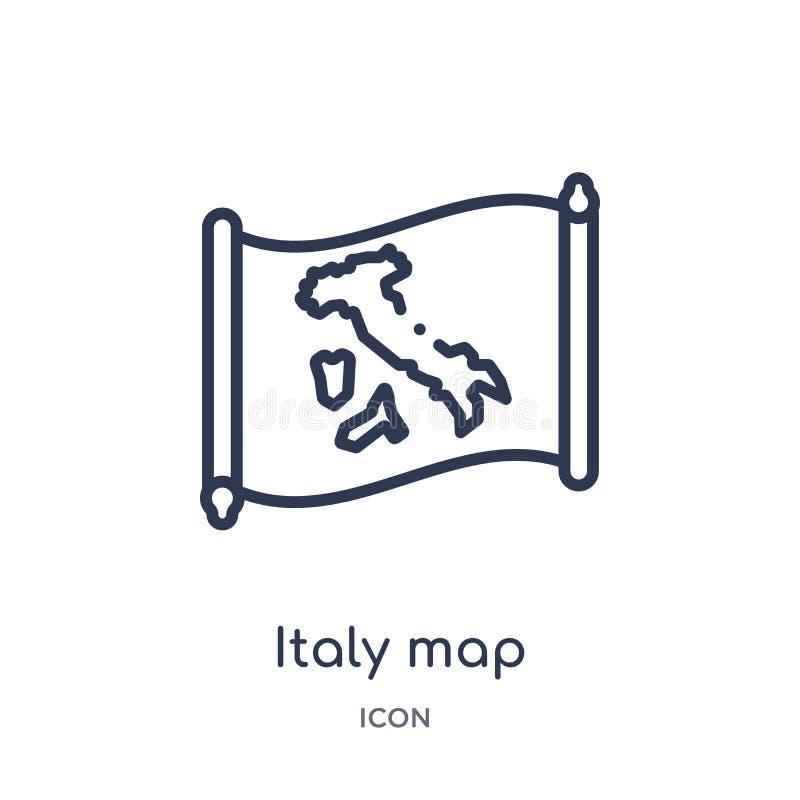 Icône linéaire de carte de l'Italie de collection d'ensemble de Countrymaps Ligne mince vecteur de carte de l'Italie d'isolement  illustration stock
