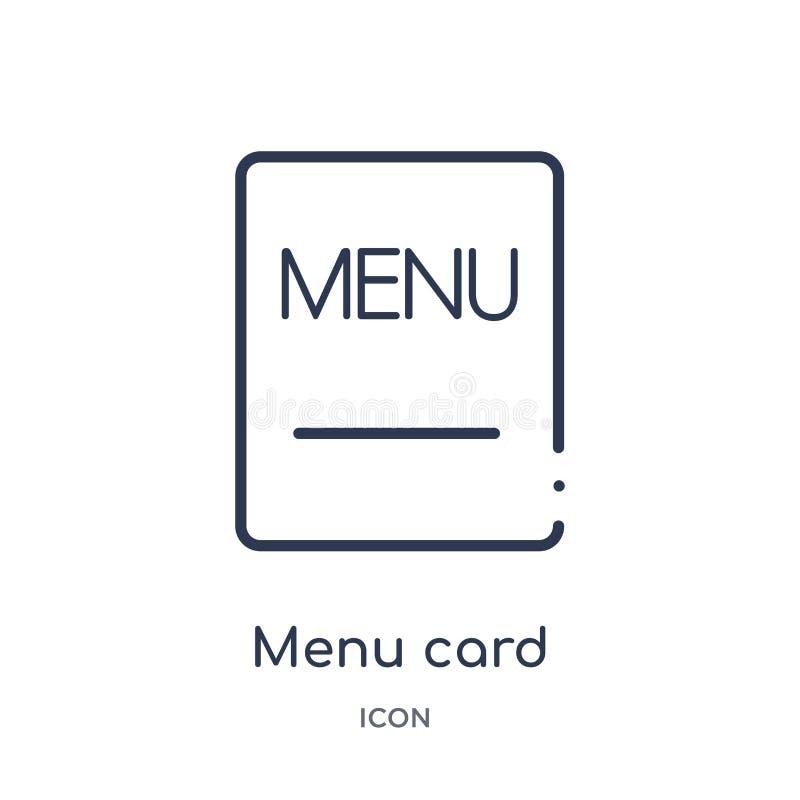 Icône linéaire de carte de menu de collection d'ensemble de Bistros et de restaurant Ligne mince vecteur de carte de menu d'isole illustration libre de droits