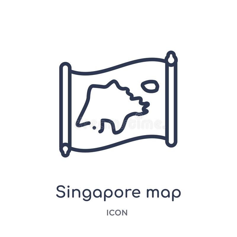 Icône linéaire de carte de Singapour de collection d'ensemble de Countrymaps Ligne mince vecteur de carte de Singapour d'isolemen illustration libre de droits