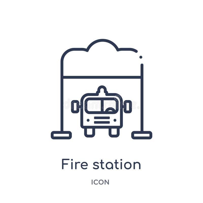 Icône linéaire de caserne de pompiers de collection d'ensemble d'éléments de ville Ligne mince vecteur de caserne de pompiers d'i illustration stock