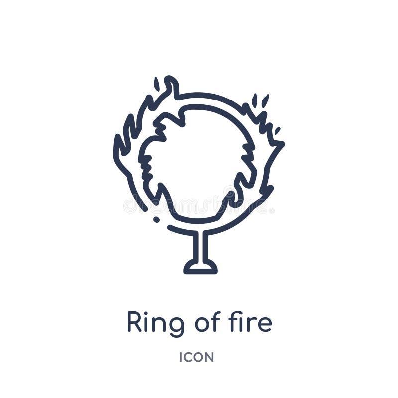 Icône linéaire de cercle de feu de collection d'ensemble de cirque Ligne mince vecteur de cercle de feu d'isolement sur le fond b illustration stock