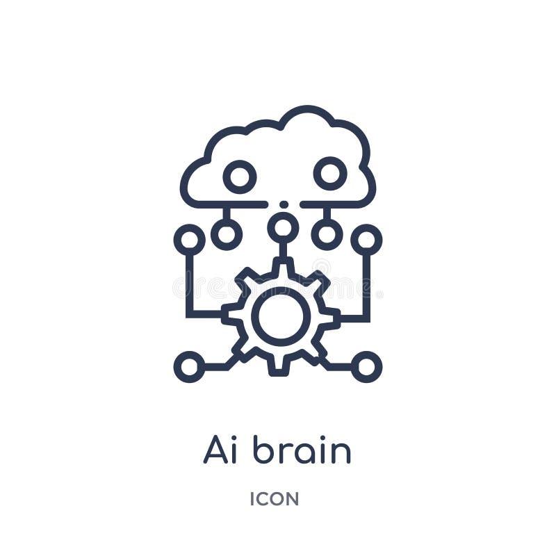 Icône linéaire de cerveau d'AI d'intellegence artificiel et de future collection d'ensemble de technologie Ligne mince vecteur de illustration libre de droits