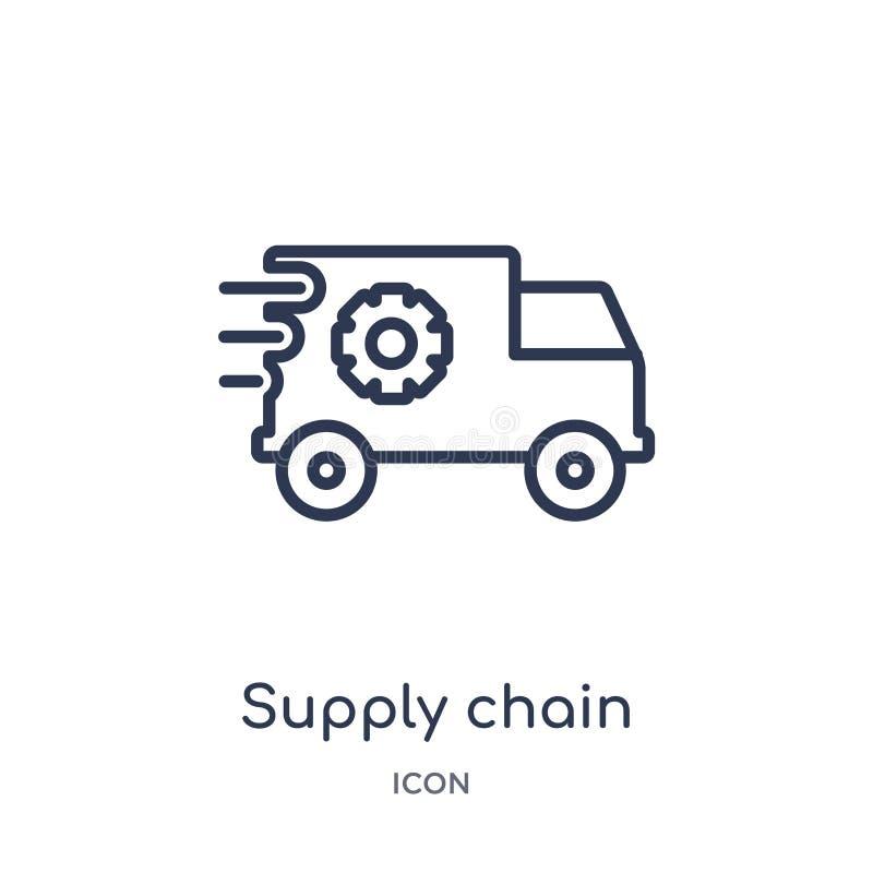 Icône linéaire de chaîne d'approvisionnements de la livraison et de la collection logistique d'ensemble Mince vecteur à chaînes d illustration libre de droits