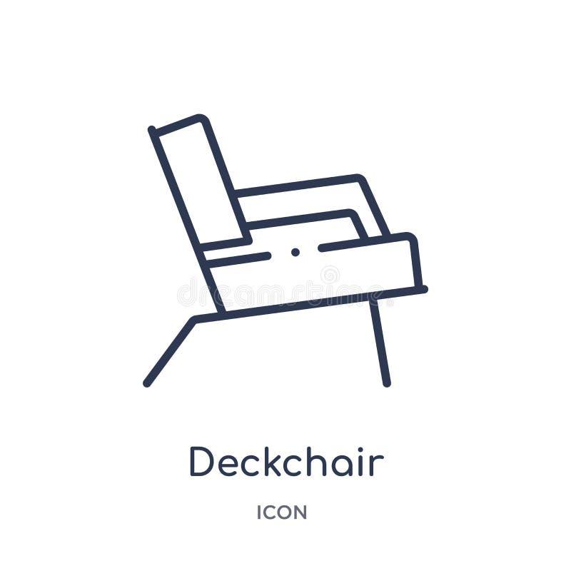 Icône linéaire de chaise longue de collection d'ensemble général Ligne mince icône de chaise longue d'isolement sur le fond blanc illustration stock