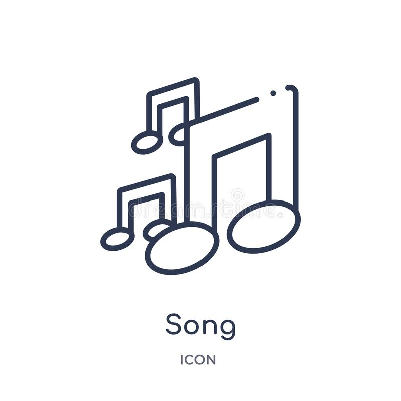 Icône linéaire de chanson de collection d'ensemble d'éducation Ligne mince vecteur de chanson d'isolement sur le fond blanc illus illustration libre de droits