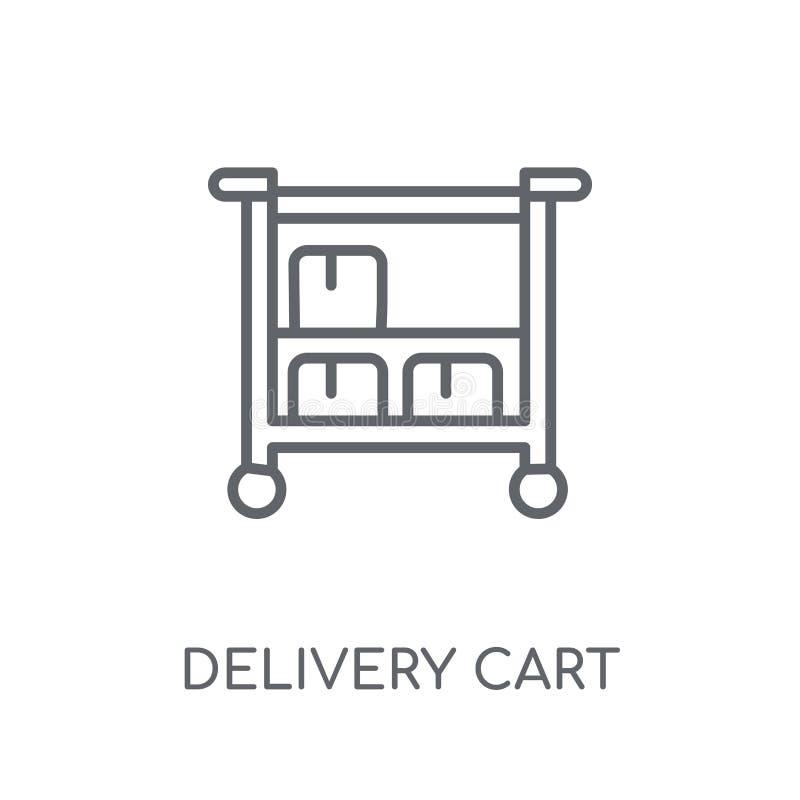 Icône linéaire de chariot de la livraison Escroquerie moderne de logo de chariot de la livraison d'ensemble illustration stock