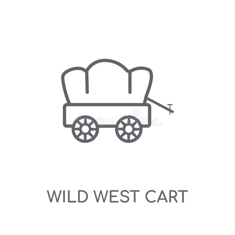 icône linéaire de chariot occidental sauvage Logo occidental sauvage c de chariot d'ensemble moderne illustration libre de droits